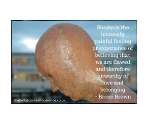 Ipswich counselling blog | How to deal with shame | Image of a statue hanging their head in shame with quote from Brené Brown