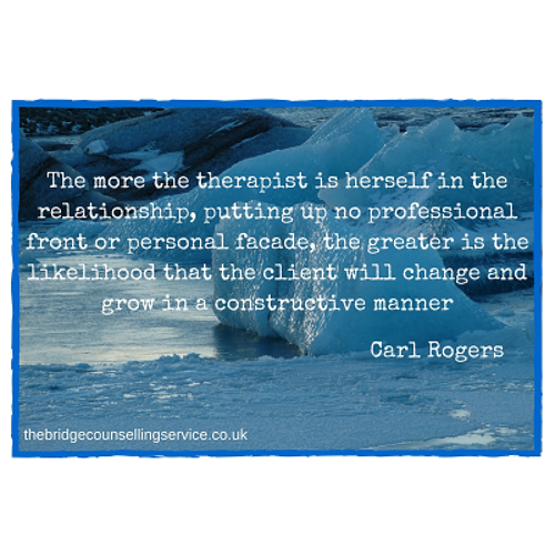 Ipswich counselling | quote by Carl Rogers about the genuineness of the counsellor | The Bridge Counselling Service, Ipswich