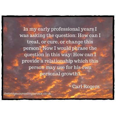 Ipswich counselling | quote by Carl Rogers about the counselling relationship | The Bridge Counselling Service, Ipswich